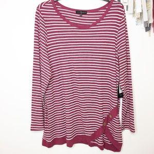 NEW striped knit tunic burgundy white 2X